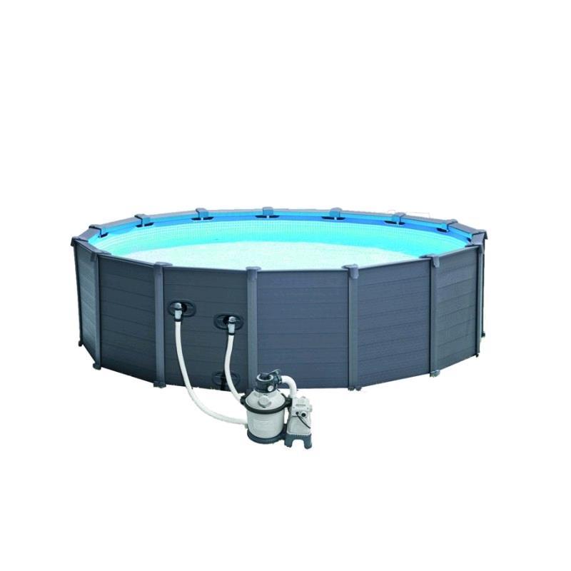 prodotto 400570 28382 intex piscina graphite cm 478x124 con pompa a sabbia intex. Black Bedroom Furniture Sets. Home Design Ideas